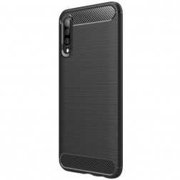 """Carbon"" cieta silikona (TPU) apvalks - melns (Galaxy A50)"