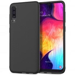 """""""Pattern"""" cieta silikona (TPU) apvalks - melns (Galaxy A50)"""