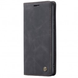 """""""CaseMe"""" Retro solīds atvēramais ādas maciņš - melns (Galaxy A51)"""
