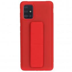 """""""Finger Grip"""" Kickstand cieta silikona (TPU) apvalks - sarkans (Galaxy A51)"""