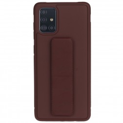 """""""Finger Grip"""" Kickstand cieta silikona (TPU) apvalks - brūns (Galaxy A51)"""