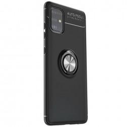 """FOCUS"" Kickstand cieta silikona (TPU) apvalks - melns (Galaxy A51)"
