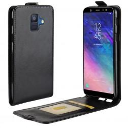 Vertikāli atvēramais maciņš - melns (Galaxy A6 2018)