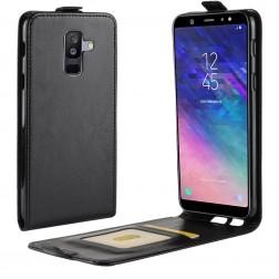Vertikāli atvēramais maciņš - melns (Galaxy A6+ 2018)