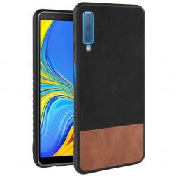 """Bi-Color"" Splicing ādas apvalks - brūns / melns (Galaxy A7 2018)"