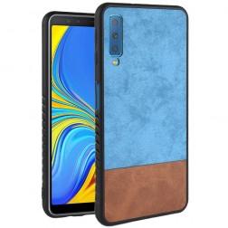 """Bi-Color"" Splicing ādas apvalks - brūns / zils (Galaxy A7 2018)"
