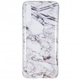 """Marble"" cieta silikona (TPU) apvalks - balts (Galaxy A7 2018)"