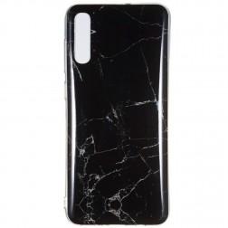 """Marble"" cieta silikona (TPU) apvalks - melns (Galaxy A7 2018)"