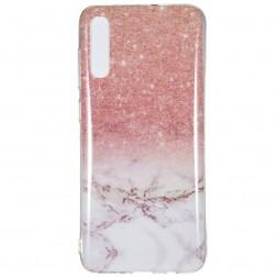 """""""Marble"""" cieta silikona (TPU) apvalks - brūns (Galaxy A7 2018)"""