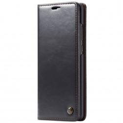 """""""CaseMe"""" solīds atvēramais ādas maciņš - melns (Galaxy A70)"""