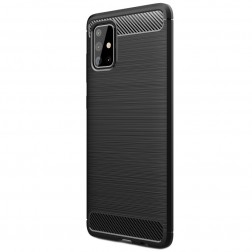 """Carbon"" cieta silikona (TPU) apvalks - melns (Galaxy A71)"