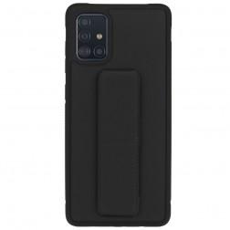 """""""Finger Grip"""" Kickstand cieta silikona (TPU) apvalks - melns (Galaxy A71)"""