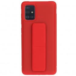 """""""Finger Grip"""" Kickstand cieta silikona (TPU) apvalks - sarkans (Galaxy A71)"""