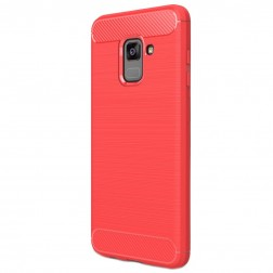 """Carbon"" cieta silikona (TPU) apvalks - sarkans (Galaxy A8 2018)"
