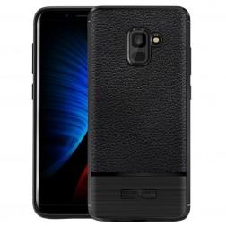 """Carbon"" cieta silikona (TPU) apvalks - melns (Galaxy A8+ 2018)"