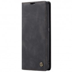"""""""CaseMe"""" Retro solīds atvēramais ādas maciņš - melns (Galaxy A80)"""