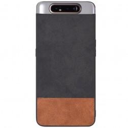 """Bi-Color"" Splicing ādas apvalks - brūns / melns (Galaxy A80)"