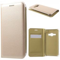 """""""Smart Wallet"""" atvēramais ādas maciņš - zelta (Galaxy J1 2016)"""