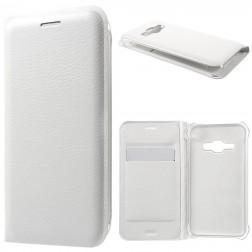 """""""Smart Wallet"""" atvēramais ādas maciņš - balts (Galaxy J1 2016)"""