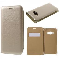 """""""Smart Wallet"""" atvēramais ādas maciņš - zelta (Galaxy J1 Ace)"""