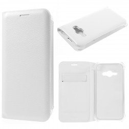 """""""Smart Wallet"""" atvēramais ādas maciņš - balts (Galaxy J1 Ace)"""