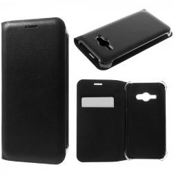 """""""Smart Wallet"""" atvēramais ādas maciņš - melns (Galaxy J1 Ace)"""