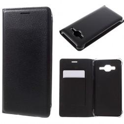 """""""Smart Wallet"""" atvēramais ādas maciņš - melns (Galaxy J3 2016)"""