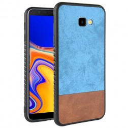 """Bi-Color"" Splicing ādas apvalks - brūns / zils (Galaxy J4+)"