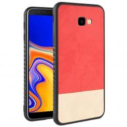 """Bi-Color"" Splicing ādas apvalks - sarkans / smilšains (Galaxy J4+)"