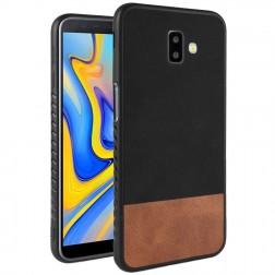 """Bi-Color"" Splicing ādas apvalks - brūns / melns (Galaxy J6+ 2018)"
