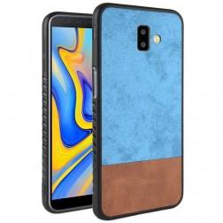 """Bi-Color"" Splicing ādas apvalks - brūns / zils (Galaxy J6+ 2018)"