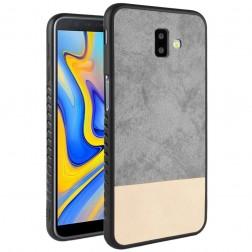"""""""Bi-Color"""" Splicing ādas apvalks - pelēks / smilšains (Galaxy J6+ 2018)"""