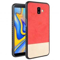 """Bi-Color"" Splicing ādas apvalks - sarkans / smilšains (Galaxy J6+ 2018)"