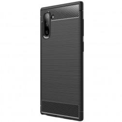 """Carbon"" cieta silikona (TPU) apvalks - melns (Galaxy Note 10)"