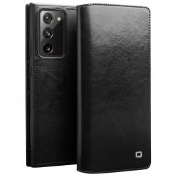 """""""QIALINO"""" atvēramais ādas maciņš - melns (Galaxy Note 20)"""