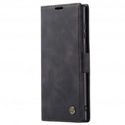 """""""CaseMe"""" Retro solīds atvēramais ādas maciņš - melns (Galaxy Note 20 Ultra)"""