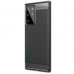 """Carbon"" cieta silikona (TPU) apvalks - melns (Galaxy Note 20 Ultra)"