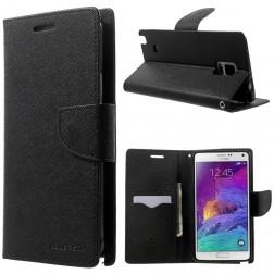 """Mercury"" Fancy Diary atvērams futrālis - melns (Galaxy Note 4)"