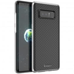 """IPAKY"" cieta silikona (TPU) apvalks - melns / sudrabs (Galaxy Note 8)"