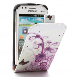 Vertikāli atvēramais puķains maciņš - balts (Galaxy S Duos / S Duos 2 / Trend / Trend Plus)
