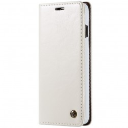 """""""CaseMe"""" solīds atvēramais ādas maciņš - balts (Galaxy S10)"""