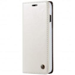 """""""CaseMe"""" solīds atvēramais ādas maciņš - balts (Galaxy S10+)"""
