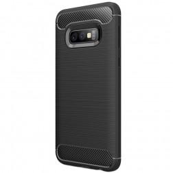 """Carbon"" cieta silikona (TPU) apvalks - melns (Galaxy S10e)"