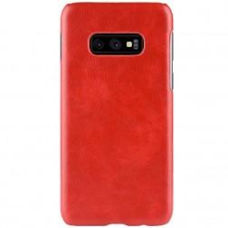 """""""Litchi"""" Skin Leather apvalks - sarkans (Galaxy S10e)"""