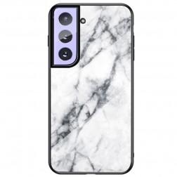 """Marble"" cieta silikona (TPU) apvalks - balts (Galaxy S21+)"