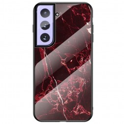 """Marble"" cieta silikona (TPU) apvalks - melns / sarkans (Galaxy S21+)"