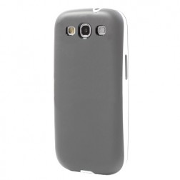 Cieta silikona (TPU) apvalks ar plastmasas apmale - pelēks (Galaxy S3)