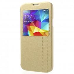 Atvēramais maciņš ar lodziņu - zelta (Galaxy S5 / S5 Neo)