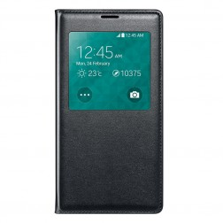 """""""Smart Window"""" atvēramais ādas maciņš - melns (Galaxy S5 / S5 Neo)"""