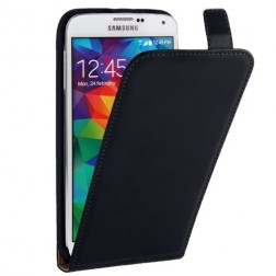 Klasisks ādas vertikāli atvēramais maciņš - melns (Galaxy S5 / S5 Neo)